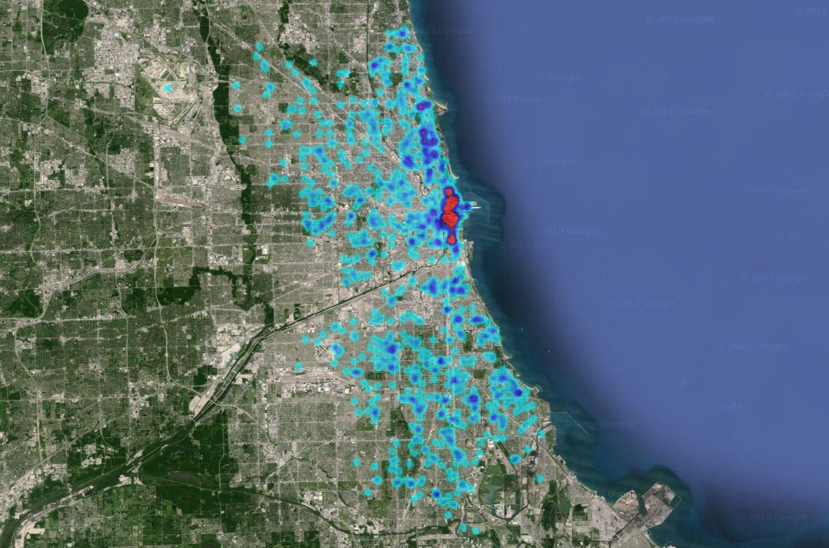 Ruby Using Google Maps Heat Map To Display Chicago Crime Statistics - Chicago map google maps