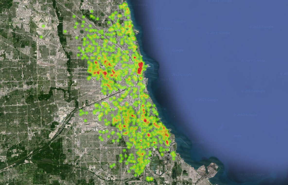Ruby Using Google Maps Heat Map to Display Chicago Crime Statistics