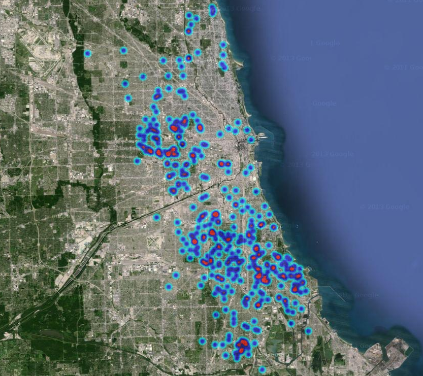 Ruby: Using Google Maps Heat Map to Display Chicago Crime ... on chicago cook county illinois map, chicago canada map, chicago death map, chicago texas map, chicago shootings, chicago murders over the weekend, chicago neighborhood map, chicago street map, chicago mafia map, chicago gang murders, worst parts of chicago map, chicago homicides by year, chicago gang map, chicago race map, dangerous parts of chicago map, chicago california map, chicago gang neighborhoods, chicago crime heat map, homicide map,