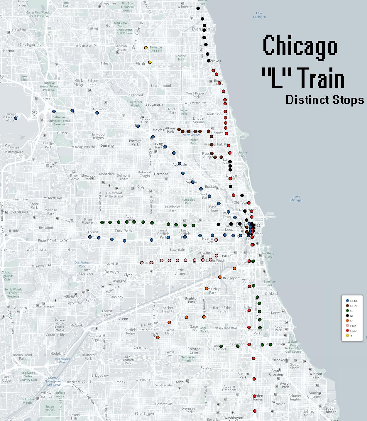 Chicago L Train Distinct Stops Map
