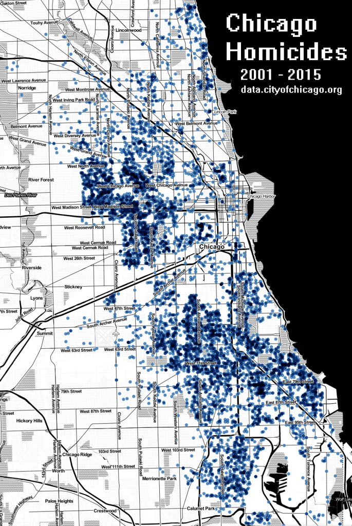 Chicago Homicide map 2001 - 2015  CPD