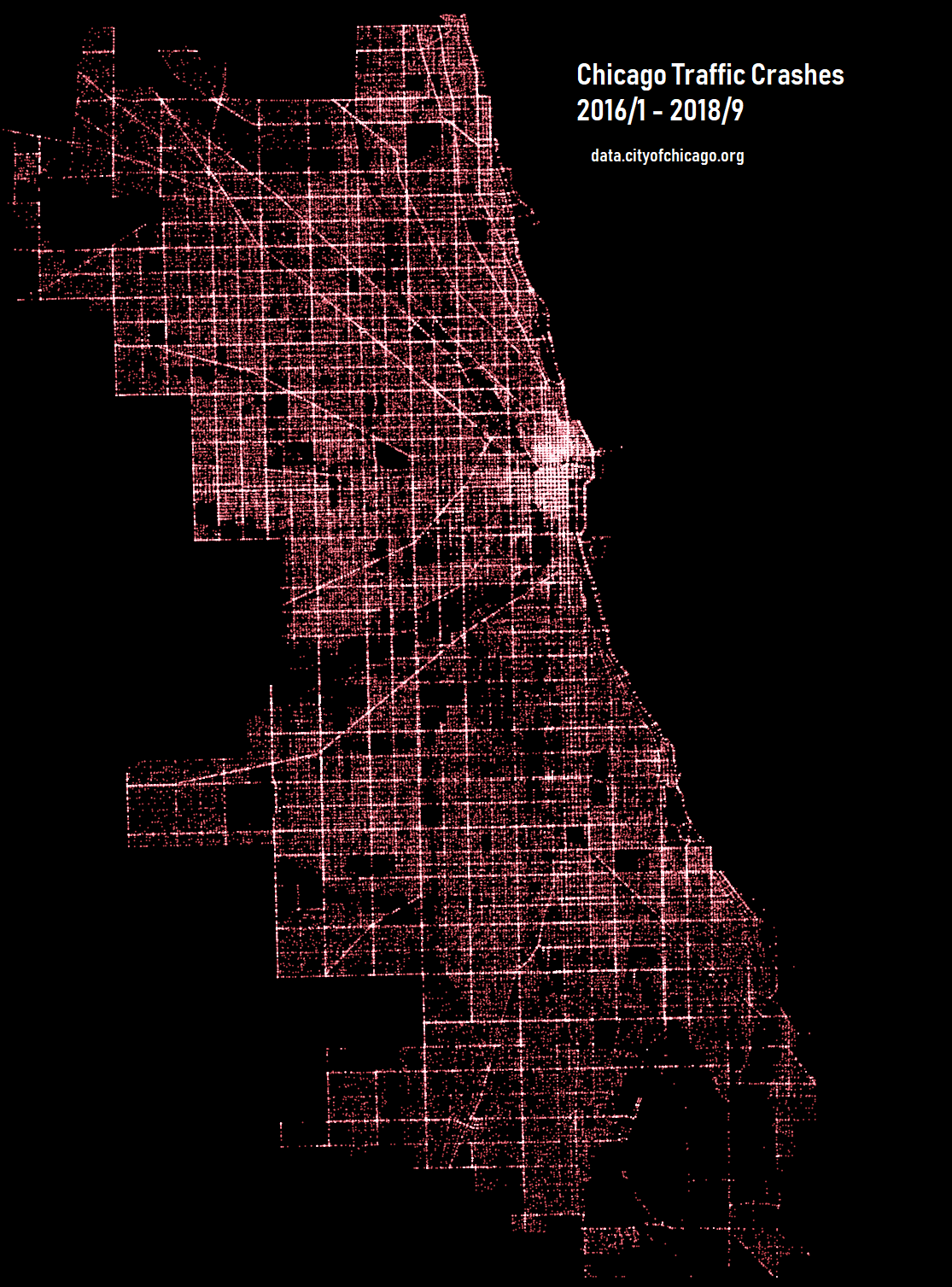 Map of Chicago created by Traffic Crashes 2016 – 2018